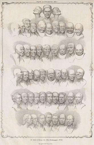 """Franz Xaver Messerschmidt - Lithograph by Matthias Rudolph Toma depicting Messerschmidt's """"Character Heads"""" (1839)"""