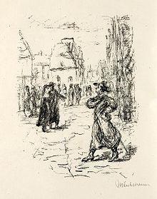 Illustration by Max Liebermann for a 1920s edition of Heine's historical novel Der Rabbi von Bacherach (Source: Wikimedia)