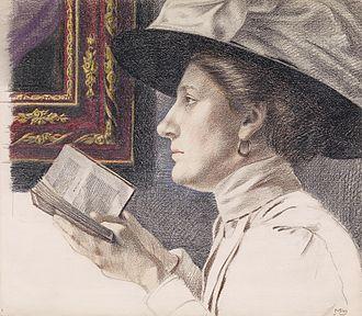 Maximilian Liebenwein - Portrait of a woman reading a book, 1907