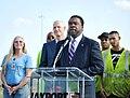 Mayor Alvin Brown addresses audience at JaxPort (8386886410).jpg
