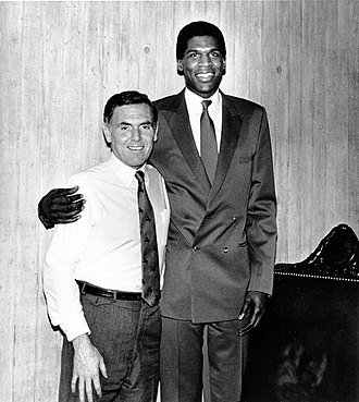 Robert Parish - Parish, in mid 1980's, with Boston mayor Raymond Flynn