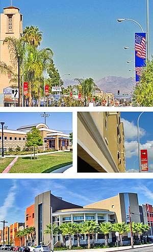 Maywood, California - Images, from top, left to right: Maywood Skyline, Aquatic Center, Maywood Villas, Maywood Academy