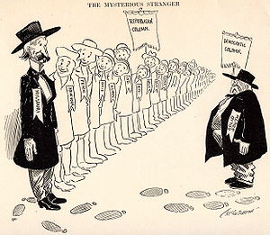 "United States presidential election, 1904 - ""The Mysterious Stranger"" – A political cartoon showing Missouri having left the Solid South by voting Republican."