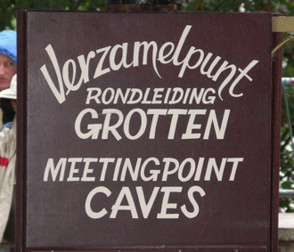 "Dunglish - Two typical Dutch mistakes in English – wrong order for noun adjuncts (""meeting point caves"" instead of ""Meeting point for caves"" or ""Cave meeting point"") and compound nouns written as one word (""meetingpoint"")"