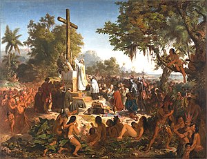 Victor Meirelles: A primeira missa no Brasil, 1861, Museu Nacional de Belas Artes. Cria-se uma iconografia hist�rica oficial suntuosa e solene, afirmando a legitimidade e nobreza da na��o entre as demais: os primeiros sinais de uma brasilidade