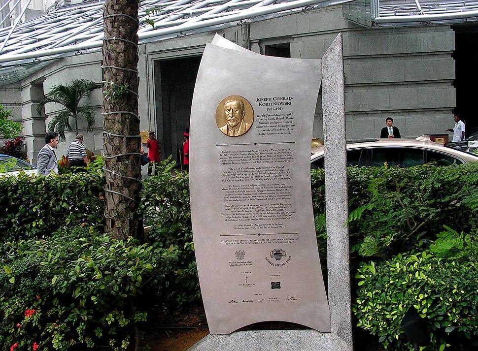Memorial Plaque in honor of Joseph Conrad in Singapore