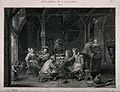 Men and women in a dingy tavern smoking and drinking round a Wellcome V0019538.jpg