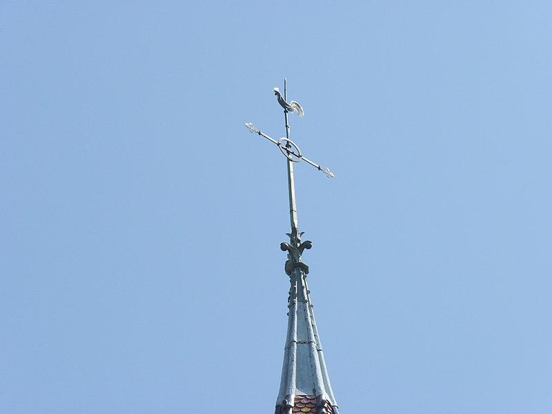 Church of Mervans, twisted steeple rooster weather vane (Saône-et-Loire, Burgundy, France).