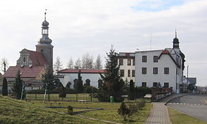 Miękinia, Lower Silesian Voivodeship - Church and municipal office building