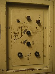 Manual pushbutton elevator controls.