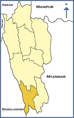 Location of Lawngtlai district in Mizoram