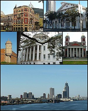 From top: Pincus Building, Old City Hall and Southern Market, Fort Charlotte, Barton Academy, Cathedral Basilica of the Immaculate Conception, and the skyline of downtown from the Mobile River.