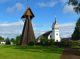 Mockfjärds kirke med klokketårnet