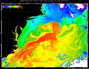 "Flow tracer - Image of the Gulf Stream obtained by the Moderate-Resolution Imaging Spectroradiometer. The false colors in the image represent ""brightness temperature"" observed at the top of the atmosphere in the 10.780-11.280 µm band. The brightness temperature values represent heat radiation from a combination of the sea surface and overlying moist atmosphere."