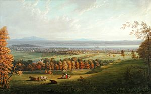William McGillivray - This view of Montreal from the mountain in 1831 is thought to show Chateau Saint-Antoine within the trees