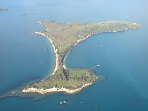 Motuihe Island - Image: Motuihe Island From Above West 01