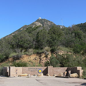 Mount Hopkins (Arizona) - Summit of Mount Hopkins from the entrance to the Fred Lawrence Whipple Observatory that has two locations, one at the bottom of the mountains and the second (this one) located on the slopes of Mount Hopkins.