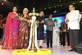 Mridula Sinha lighting the lamp at the inauguration of the 45th International Film Festival of India (IFFI-2014), in Panaji, Goa. The Union Minister for Finance, Corporate Affairs and Information & Broadcasting.jpg