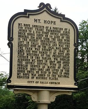 Mount Hope (Falls Church, Virginia) - Historic Marker