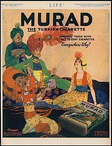 Pubblicità del 1918 delle sigarette turche Murad