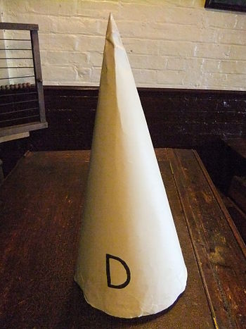 Dunce cap in the Victorian schoolroom at the M...