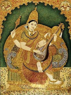 Mysore painting - Mysore Painting depicting Goddess Saraswathi