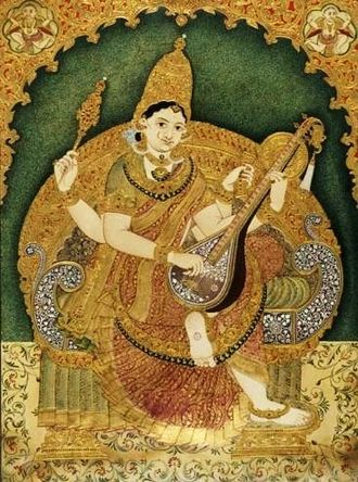 Mysore painting - Mysore Painting depicting Goddess Saraswathi
