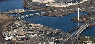Wynn Boston Harbor - Image: Mystic River aerial view, November 2015