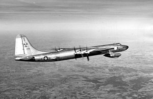 Convair NB-36H - The NB-36H in flight. Note the 2 pods; each was mounted near the wingtips of the aircraft and both carried two GE J47 jet engines each.