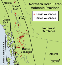 Map of the Northern Cordilleran Volcanic Province and location of nearby fault zones. The volcanoes fall into the region between the two faults.