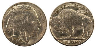 James Earle Fraser (sculptor) - 1913 Indian Head nickel obverse and reverse