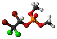 Ball-and-stick model of the Naled molecule