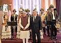 Narendra Modi with the various artists, who performed during the official lunch hosted by the President of the Republic of Kazakhstan, Mr. Nursultan Nazarbayev, at Akorda President's Palace, in Astana, Kazakhstan (2).jpg
