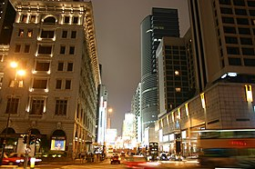 Nathan Road at Salisbury Road in Tsim Sha Tsui at Night.JPG
