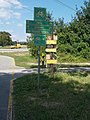 National Blue Trail and Bike Trail crossing, directional signs, Keszthely, 2016 Hungary.jpg