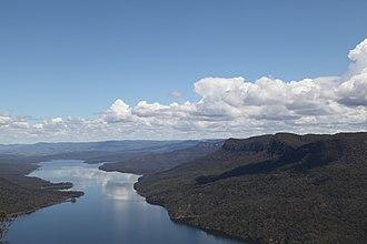 Nattai River - An aerial photograph of the Nattai River to form Lake Burragorang, in 2012.