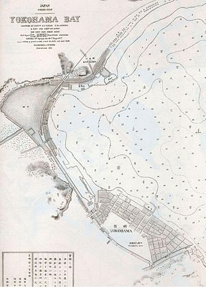 Port of Yokohama - This nautical chart shows the Port of Yokohama in 1874.