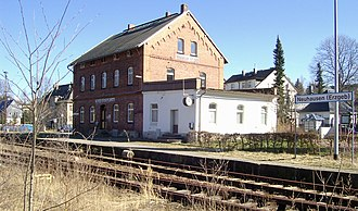 Neuhausen, Saxony - Neuhausen railway station at the end of the Pockau-Lengefeld–Neuhausen railway, which is not closed but with irregular service only
