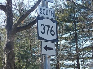 New York State Route 376 - Signage for NY 376 near the route's southern terminus