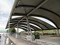 New busway canopy construction at Forest Hills station, August 2018.JPG