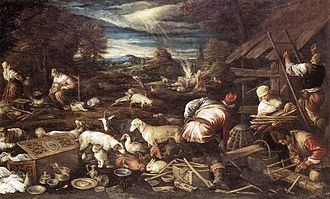 Longevity myths - The Sacrifice of Noah, Jacopo Bassano (c. 1515 – 1592), Staatliche Schlösser und Gärten, Potsdam-Sanssouci, c. 1574. Noah was traditionally age 601 at the time.