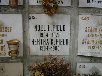 Hede Massing - Noel Field's tomb, Farkasréti Cemetery, Budapest.