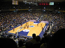 In FIBA-affiliated leagues, courts such as the Nokia Arena have trapezoidal keys.