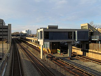 North Quincy station - The south end of the station viewed from West Squantum Street
