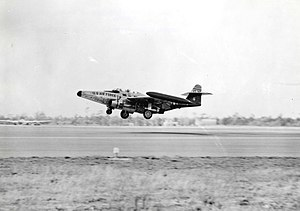 Northrop F-89C (S/N 51-5795) landing at Eglin ...