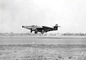 Eglin Air Force Base - A Northrop F-89C landing at Eglin Air Force Base during the 1950s.