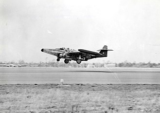 Eglin Air Force Base - A Northrop F-89C landing at Eglin Air Force Base during the 1950s.