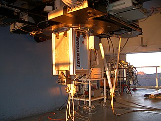 Nordic Optical Telescope - The interior of the telescope, showing an instrument on the Cassegrain focus.