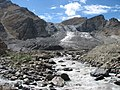Nun glacier at the end of in total 10 kms^ with melting river as seen in sept. 2007 from the road Kargil-Suru-Rangdum-Padum - panoramio.jpg