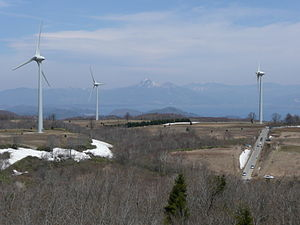 Wind power in Japan - Turbines at the Nunobiki Plateau Wind Farm, one of the largest wind farms in Japan with 33 turbines